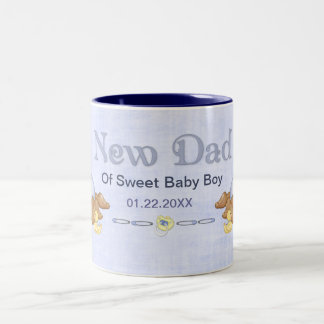 Crawling Teddy - New Dad of Boy - Customize Two-Tone Coffee Mug