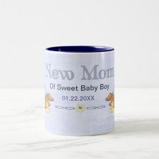 Crawling Teddy - New Mom of Boy - Customize Two-Tone Coffee Mug