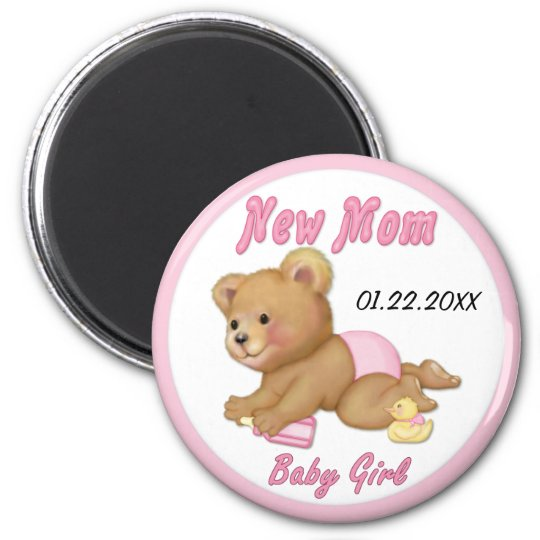 Crawling Teddy - New Mom of Girl - Customize Magnet