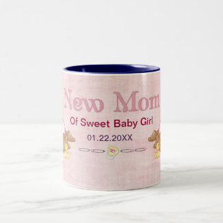 Crawling Teddy - New Mom of Girl - Customize Two-Tone Coffee Mug