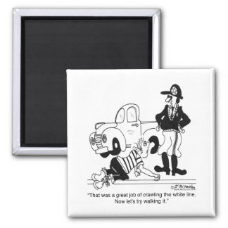 Crawling the White Line 2 Inch Square Magnet