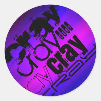 Cray; Azul violeta y magenta vibrantes Pegatina Redonda