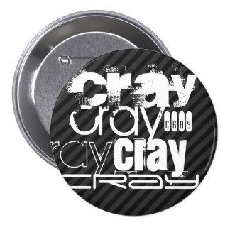 Cray; Black & Dark Gray Stripes 3 Inch Round Button