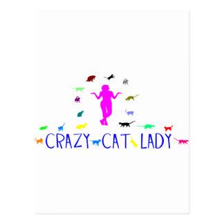 CRAY CAT LADY POSTCARD