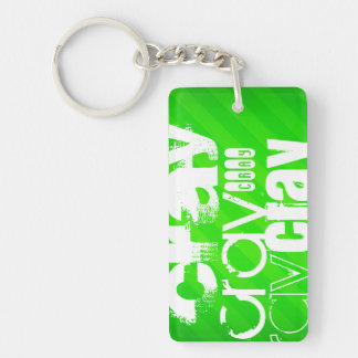 Cray; Neon Green Stripes Double-Sided Rectangular Acrylic Keychain