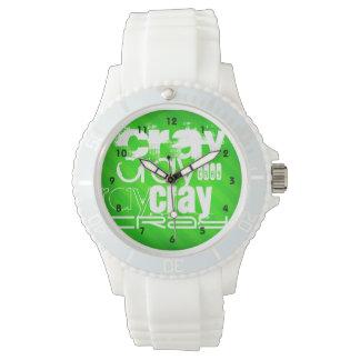 Cray; Neon Green Stripes Wristwatches