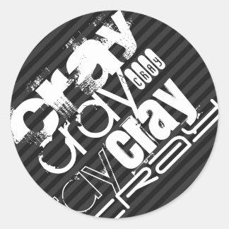 Cray; Rayas negras y gris oscuro Pegatina Redonda