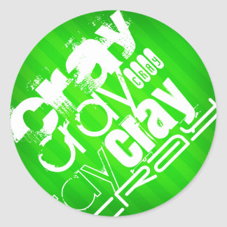 Cray; Rayas verdes de neón Pegatina Redonda