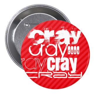 Cray; Scarlet Red Stripes 3 Inch Round Button