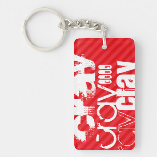 Cray; Scarlet Red Stripes Double-Sided Rectangular Acrylic Keychain