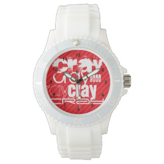 Cray; Scarlet Red Stripes Wristwatches