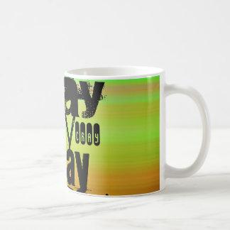 Cray; Verde vibrante, naranja, y amarillo Taza Básica Blanca