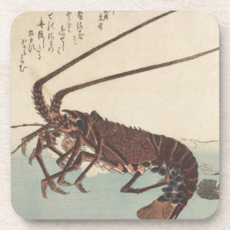 Crayfish and two shrimps by Hiroshige Beverage Coaster