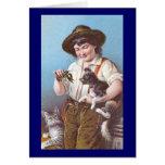 Crayfish, Cat and Dog Victorian Era Greeting Card