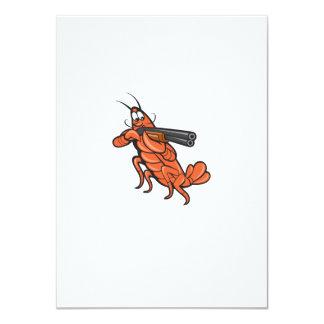 Crayfish Lobster Aiming Shotgun Cartoon 11 Cm X 16 Cm Invitation Card