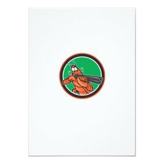 Crayfish Lobster Aiming Shotgun Circle Cartoon 11 Cm X 16 Cm Invitation Card