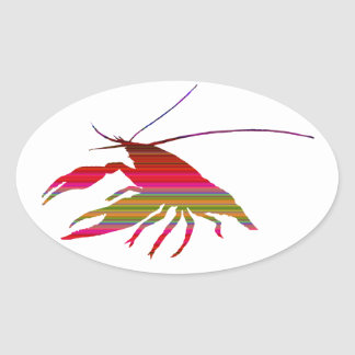 crayfish's silhouette (Gradation) Oval Sticker