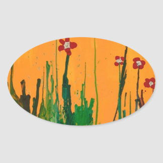 crayon art flowers oval sticker