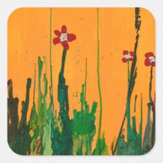 crayon art flowers square sticker