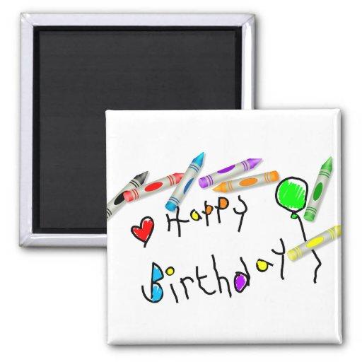 Crayon Birthday Greeting Magnets