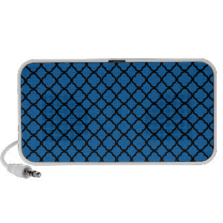 Crayon Blue And Black Quatrefoil. Moroccan Pattern Notebook Speakers