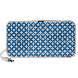 Crayon Blue And White Seamless Mesh Pattern iPod Speakers