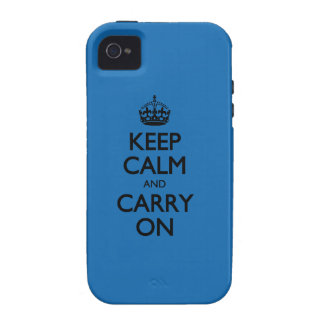 Crayon Blue Keep Calm And Carry On iPhone 4 Cover