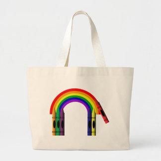 Crayon Color a Rainbow Kids Jumbo Tote Bag