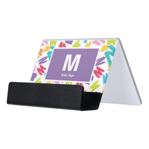 Crayon Color Splashes Artsy Creative Desk Business Card Holder