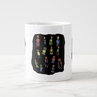 Crayon Colorful male and female figures random aga Large Coffee Mug