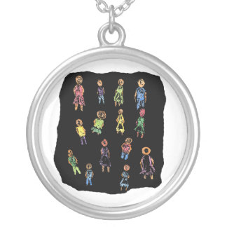 Crayon Colorful male and female figures random aga Round Pendant Necklace