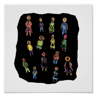 Crayon Colorful male and female figures random aga Print
