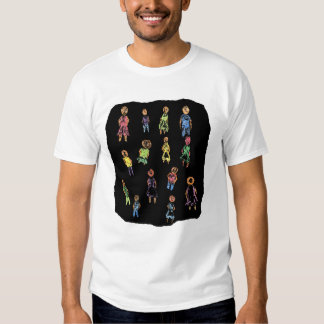 Crayon Colorful male and female figures random aga Tshirt