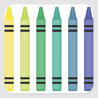 Crayon Colors Square Sticker
