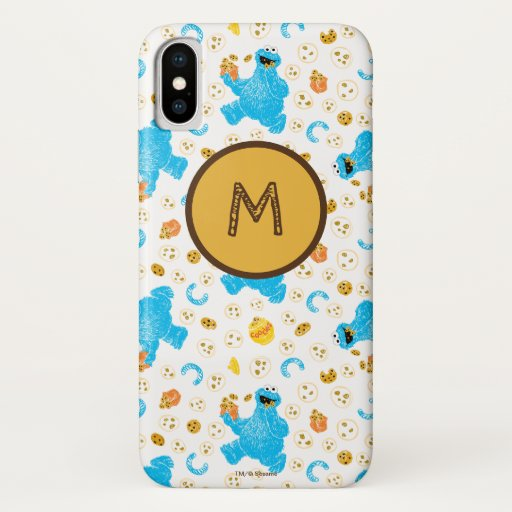Crayon Cookie Monster Cookie Pattern iPhone X Case