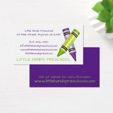 Beach Themed Crayon Crayons Art Teacher Arts School Preschool Business Card