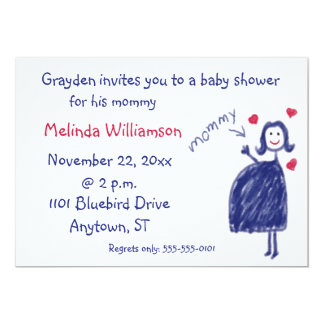 """Crayon Drawing Baby Shower Invitation From Child 5"""" X 7"""" Invitation Card"""