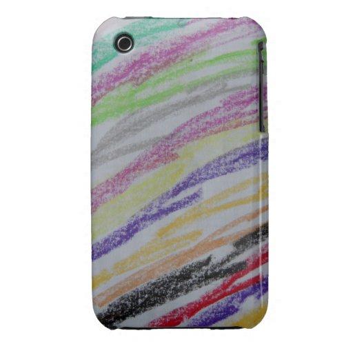 Crayon Drawn Lines iPhone 3 Case