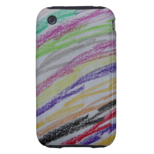 Crayon Drawn Lines Tough iPhone 3 Case