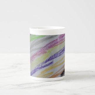 Crayon Drawn Lines Porcelain Mugs