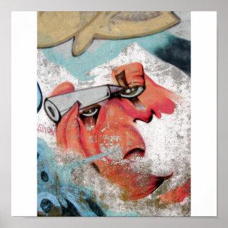 Crayon Face Graffiti Poster