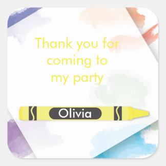Crayon Favor Sticker  |  Yellow