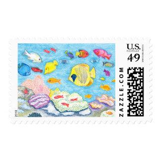 Crayon Fish Postal Stamp