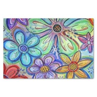 "Crayon Flowers 10"" X 15"" Tissue Paper"