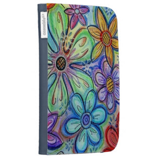 Crayon Flowers Kindle 3 Cases