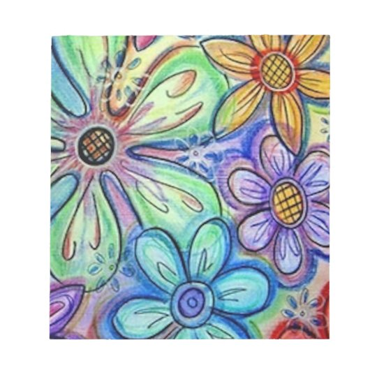 Crayon Flowers Notepad