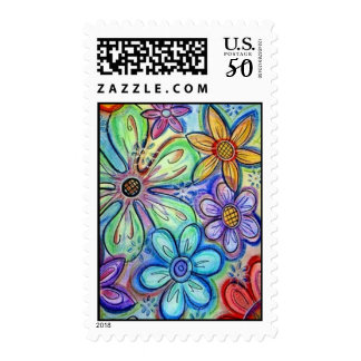 Crayon Flowers Postage