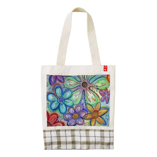 Crayon Flowers Zazzle HEART Tote Bag