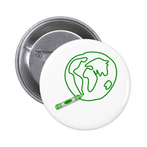 Crayon Green Globe Pinback Buttons