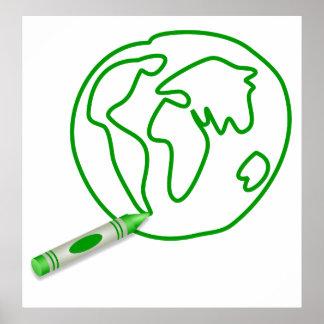 Crayon Green Globe Poster